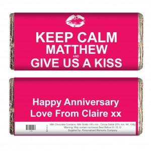 Keep Calm Give Us A Kiss Chocolate Bar