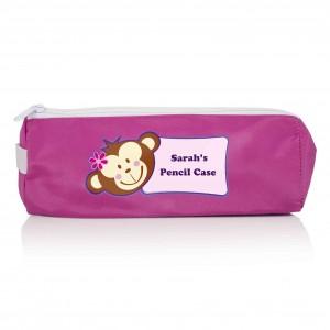Pink Monkey Girl Pencil Case
