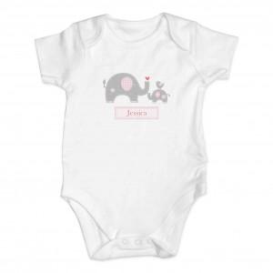 Pink Elephant 0-3 Months Baby Vest
