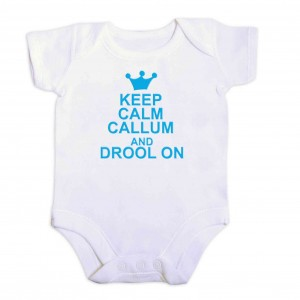 Blue Keep Calm 9-12 Months Baby Vest