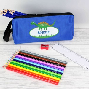Blue Dinosaur Pencil Case & Personalised Contents