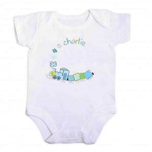 Patchwork Train 6-9 Months Baby Vest