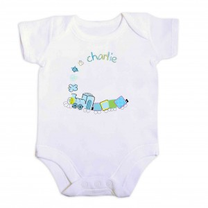 Patchwork Train 9-12 Months Baby Vest