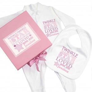 Twinkle Girls Pink Gift Set - Babygrow & Bib