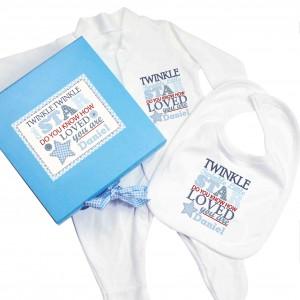 Twinkle Boys Blue Gift Set - Babygrow & Bib