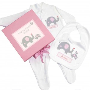 Pink Baby Elephant Gift Set - Babygrow & Bib