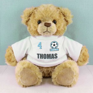 Sky Blue Football Fan T-Shirt Message Bear