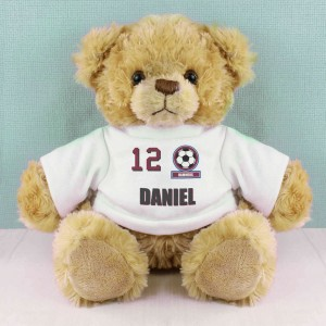 Claret and Blue Football Fan T-Shirt Message Bear