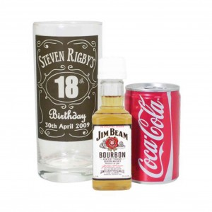 Classic Whisky Style Glass with Bourbon Whisky Miniature & Coke Set