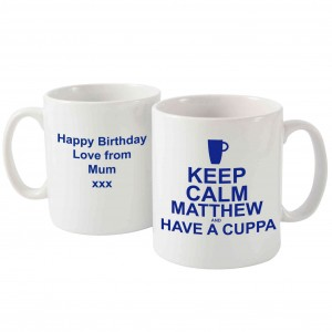 Keep Calm Have A Cuppa Mug Blue