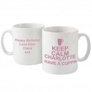 Keep Calm Have A Cuppa Mug Pink