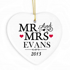 Mr & Mrs Ceramic Heart Decoration