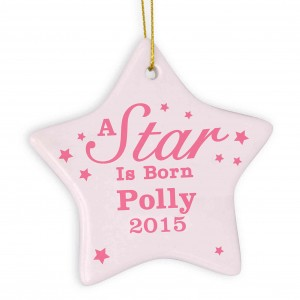 Pink 'A star Is Born' Ceramic Star Decoration