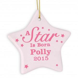 Pink 'A star Is Born' Ceramic Star Decoration