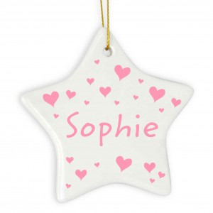 Pink Hearts Star Decoration