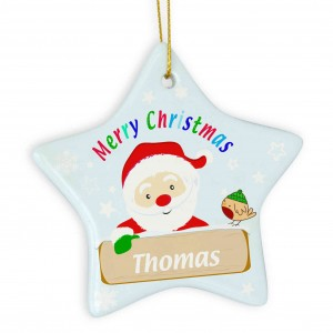 Santa Ceramic Star Decoration