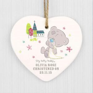 Tiny Tatty Teddy Christening Ceramic Heart Decoration