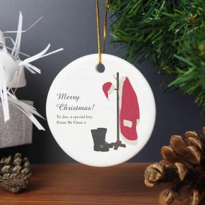 Santas Home For Christmas Round Ceramic Decoration