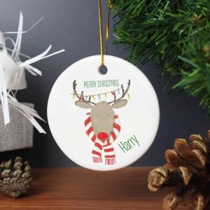 Retro Reindeer Round Ceramic Decoration