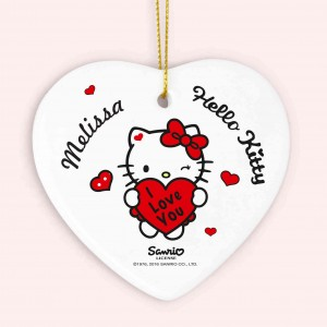 Hello Kitty I Love You Ceramic Heart Decoration