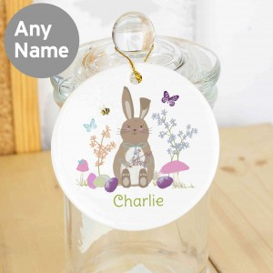 Easter Meadow Bunny Round Ceramic Decoration