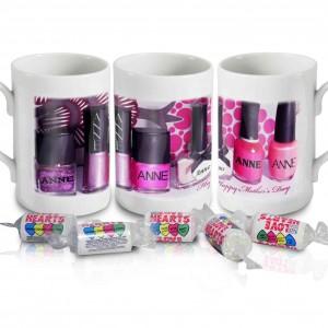 Row of Pink Nail Polish Mug