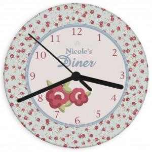 Vintage Floral Glass Clock
