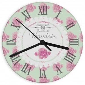 Vintage Rose Glass Clock
