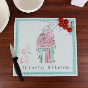 Vintage Pastel Cupcake Glass Chopping Board