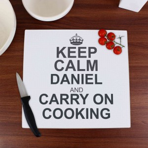 Keep Calm Glass Chopping Board