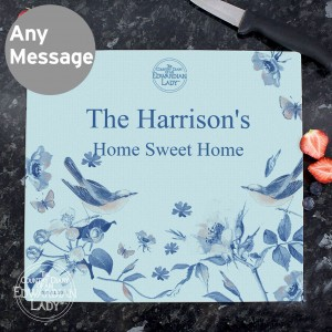 Country Diary Blue Blossom Glass Chopping Board
