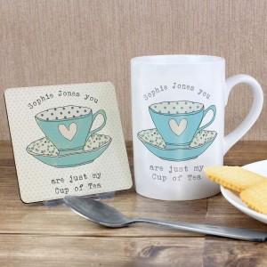 Vintage Tea Cup Mug & Coaster Set