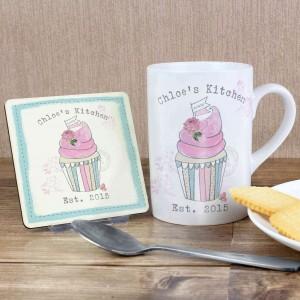 Vintage Pastel Cupcake Mug & Coaster Set