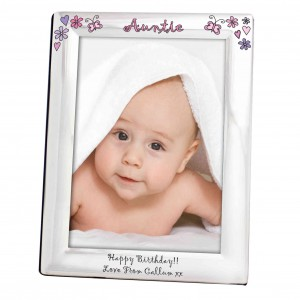 Flowers and Butterflies Name Silver 5x7 Photo Frame
