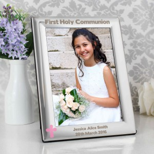 Pink Cross Silver 5x7 Photo Frame