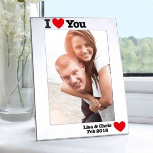 Silver Plated 5x7 I Heart Photo Frame