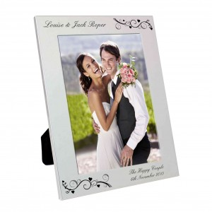 Silver 5x7 Black Swirl Photo Frame