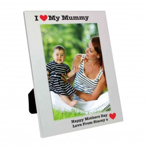 Silver 5x7 I Heart Photo Frame