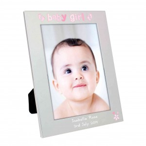 Silver 5x7 Baby Girl Photo Frame