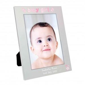 Silver 5x7 Baby Girl Photo Frame
