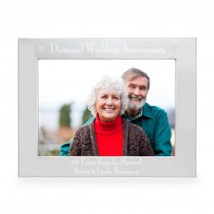 Silver 5x7 Diamond Anniversary Landscape Photo Frame