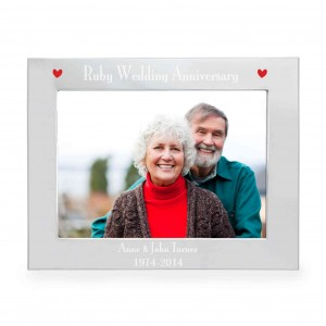 Silver 5x7 Ruby Anniversary Landscape Photo Frame