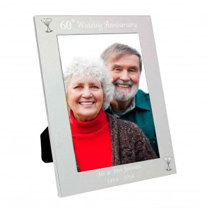Silver 5x7 60th Wedding Anniversary Photo Frame