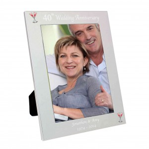 Silver 5x7 40th Wedding Anniversary Photo Frame