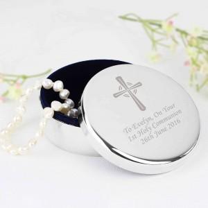 Silver Cross Rosary Bead Trinket Box