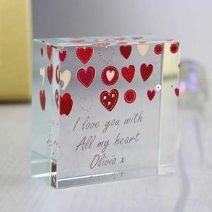 Fabric Hearts Design Medium Crystal Token