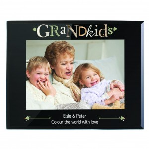 Grandkids Black Glass 5x7 Photo Frame