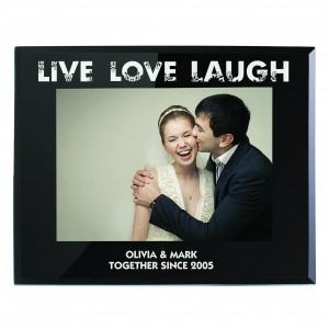 Live Love Laugh Black Glass 5x7 Photo Frame