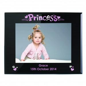 Princess Black Glass 5x7 Photo Frame
