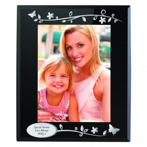 Silver Flowers & Butterfly Black Glass 5x7 Photo Frame